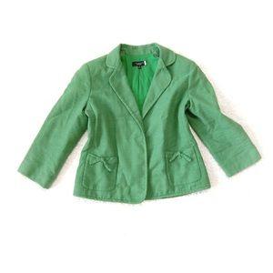 Talbots Bright Green Linen Blazer 10 Bow Pockets